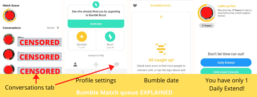 Bumble match queue is located in the conversations tab in the bumble app. You have three primary tabs, conversations tab, profile settings, and bumble date.
