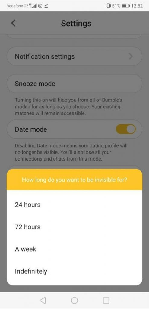 how to activate bumble snooze step seven