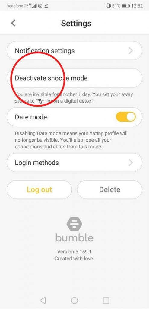 how to deactivate bumble snooze mode