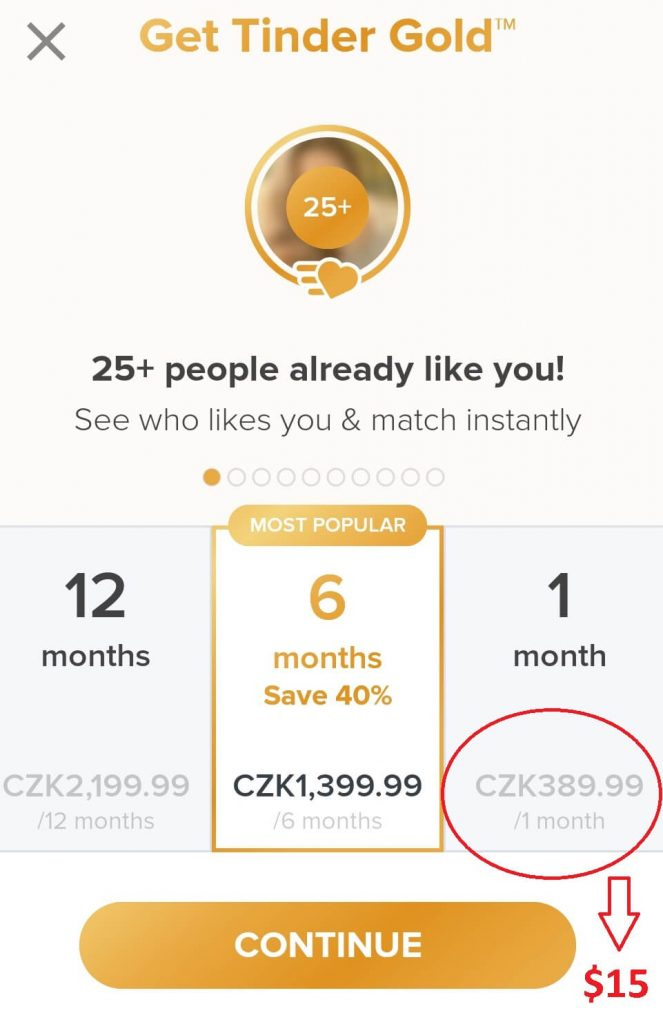 Tinder gold costs 15$ monthly if you are under 30, if you are over 30 years old you will have to pay for the same membership 30$, which is twice as much, is it worth it? Well that depends, read the full article to find out!