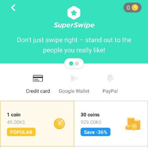 Once you purchase atleast one coin, you will proceeed with the superswipe